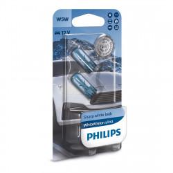Becuri auto Philips W5W White Vision Ultra, 12V, 5W