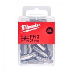 Set 25 biti PH3 Milwaukee, 25 mm