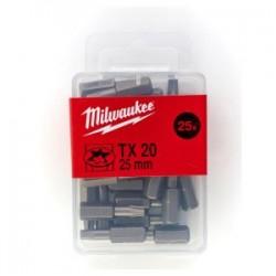 Set 25 biti TX20 Milwaukee, 25 mm