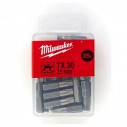 Set 25 biti TX30 Milwaukee, 25 mm
