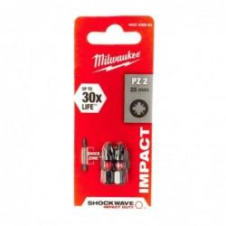 Biti PZ2 impact Milwaukee, 25 mm - 2 buc