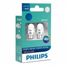 Leduri auto pozitie Philips W5W Ultinon LED, 6000 K, 12 V