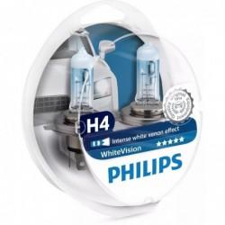 Set 2 Becuri auto Philips H4 White Vision, 12V, 60/55W